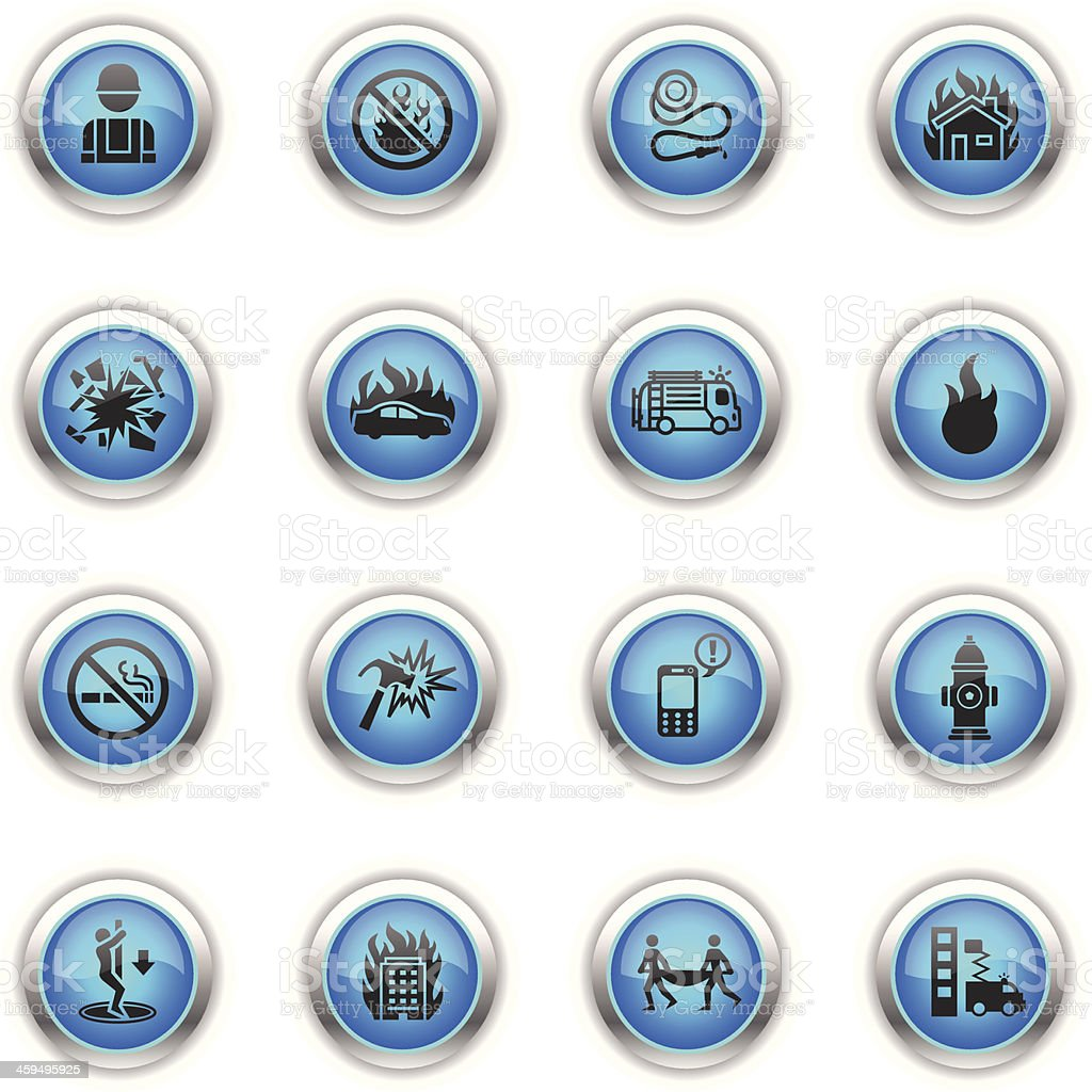 Blue Icons - Firefighters vector art illustration