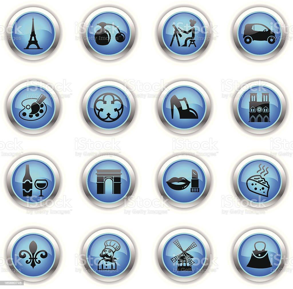 Blue Icons - France & Paris royalty-free stock vector art
