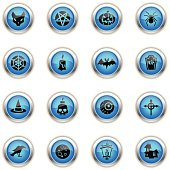 16 icons representing different Halloween related icons.