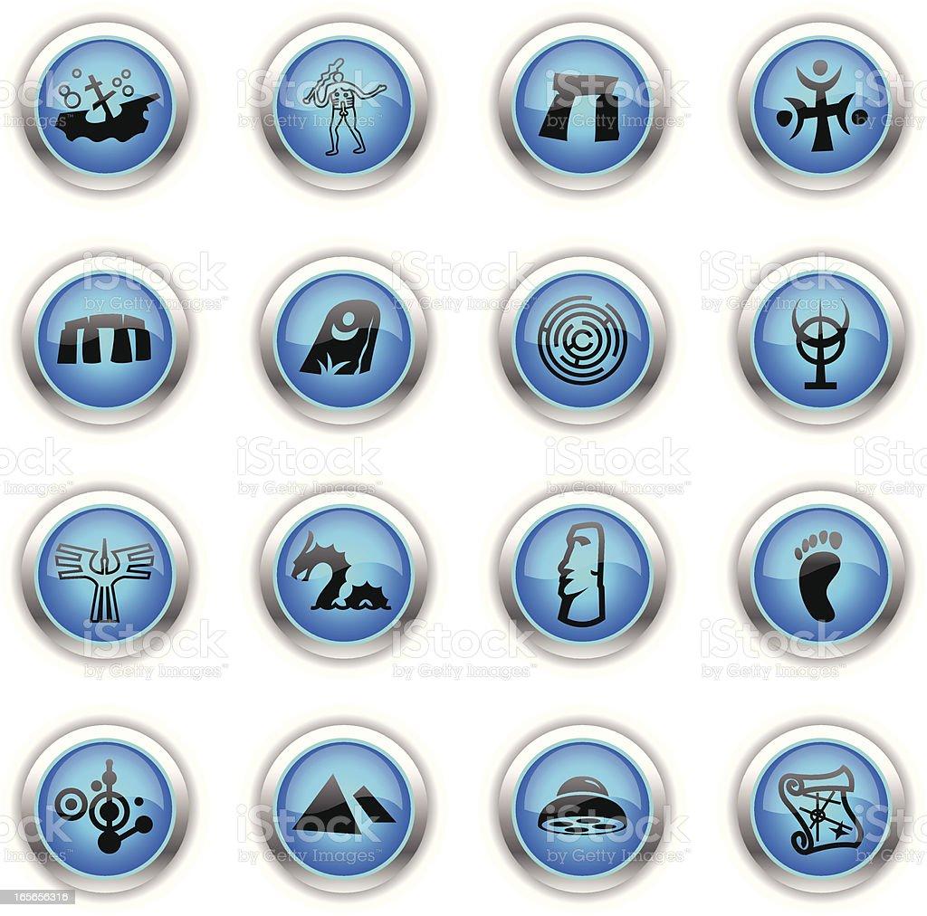 Blue Icons -  Mysteries vector art illustration