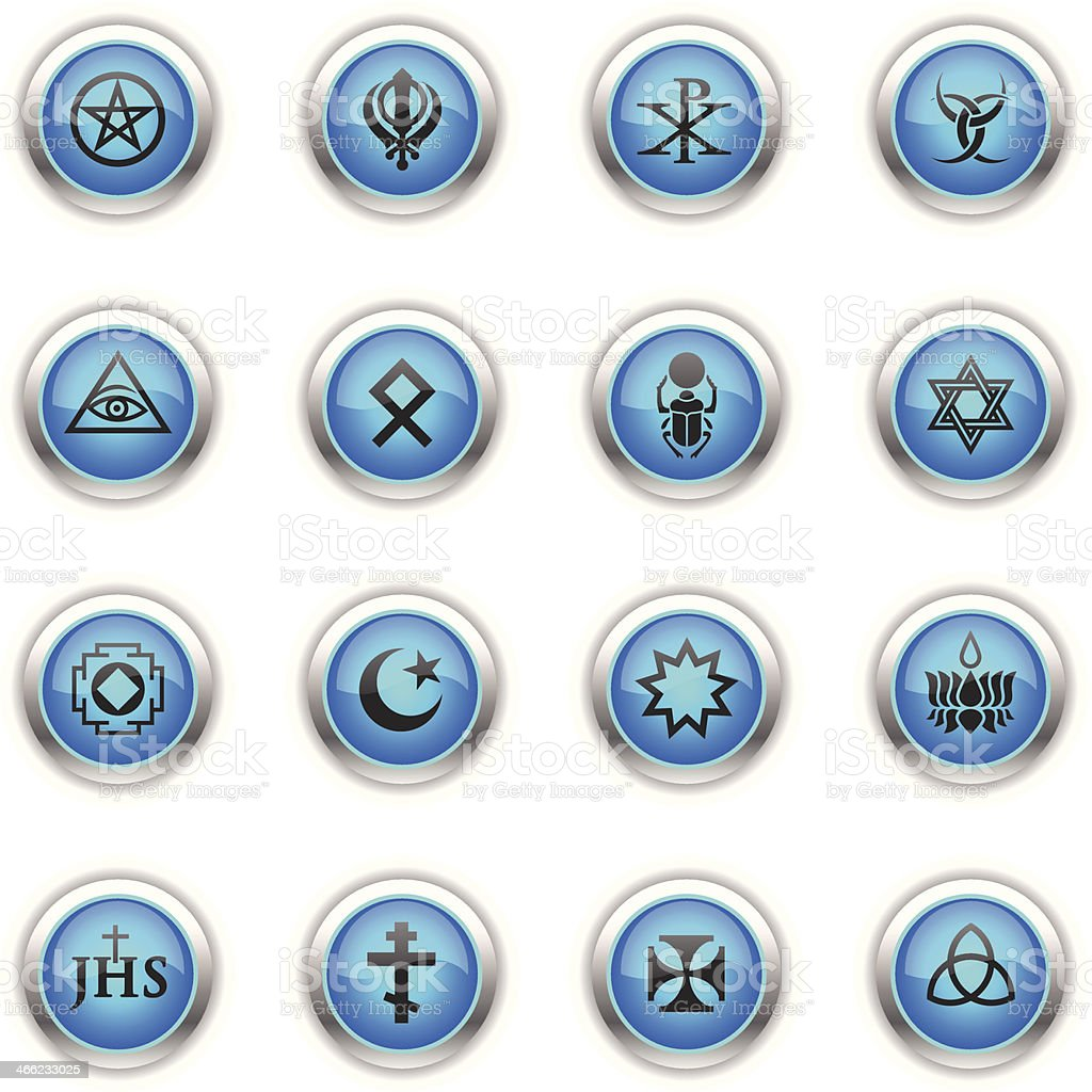 Blue icons religious symbols stock vector art more images of blue icons religious symbols royalty free blue icons religious symbols stock vector art amp biocorpaavc Image collections