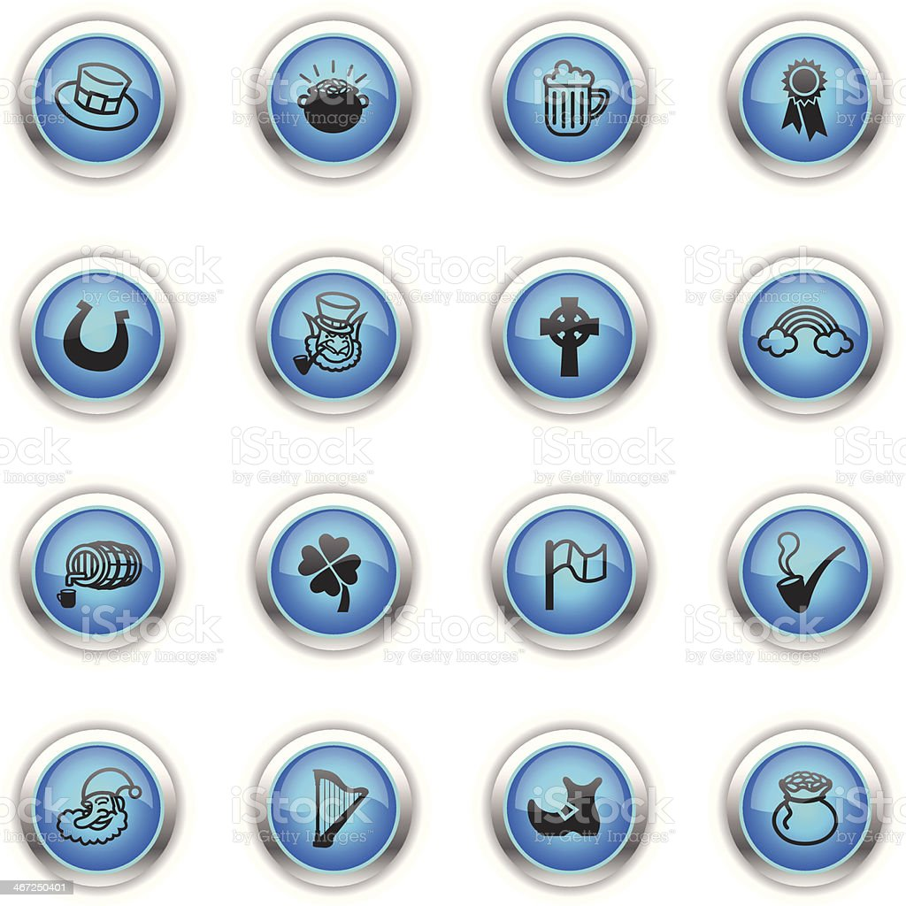 Blue Icons - Saint Patrick's Day vector art illustration