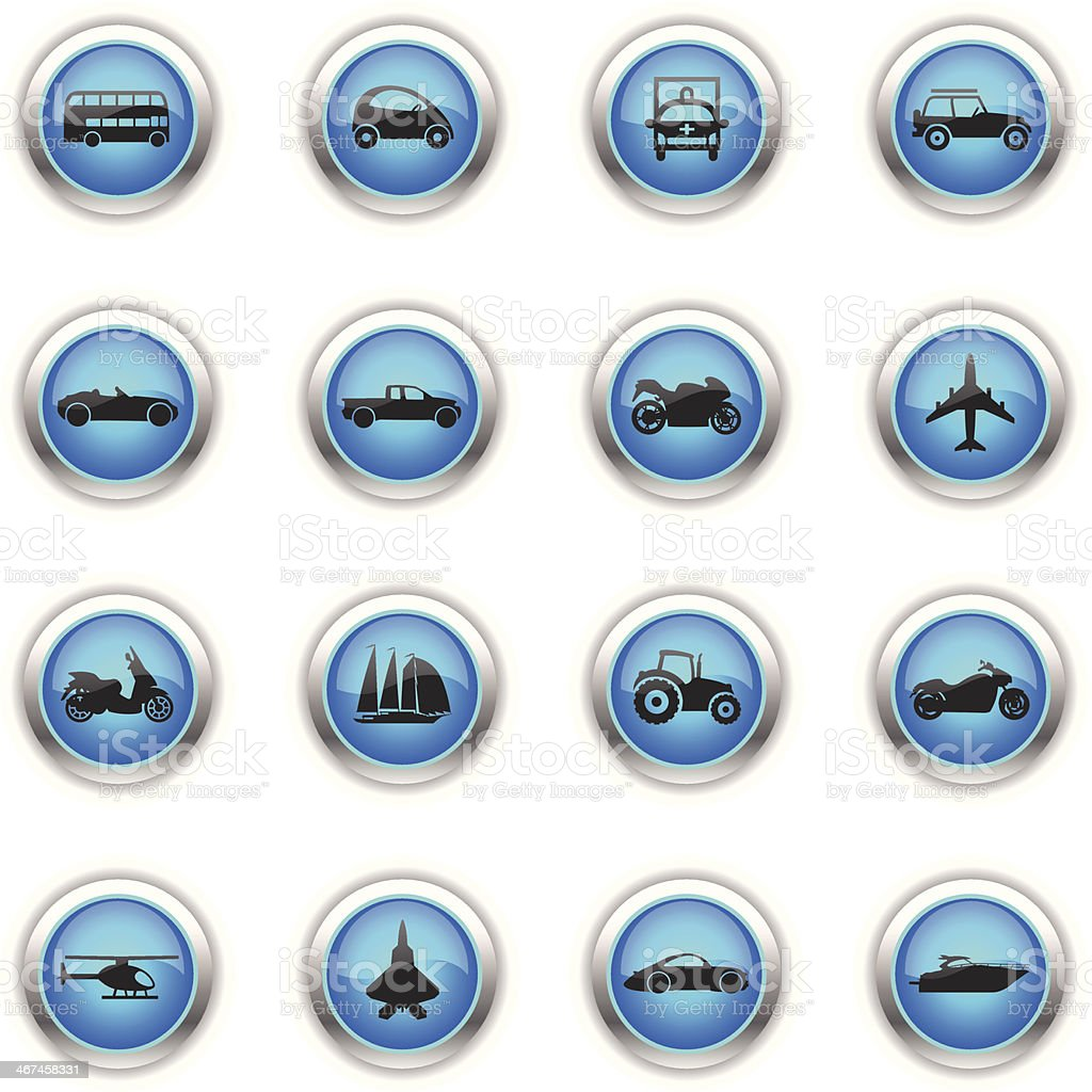 Blue Icons - Transportation royalty-free stock vector art