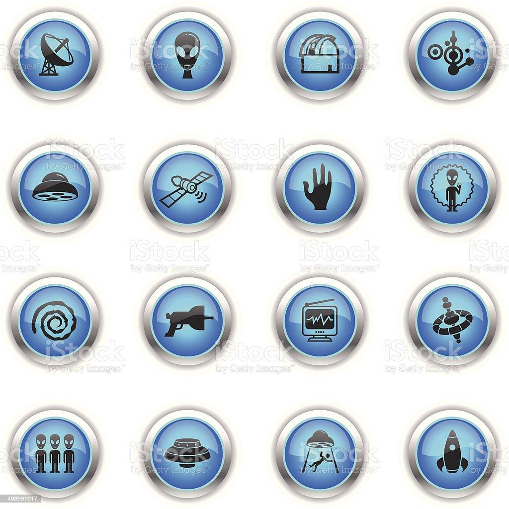 Blue Icons - UFO vector art illustration