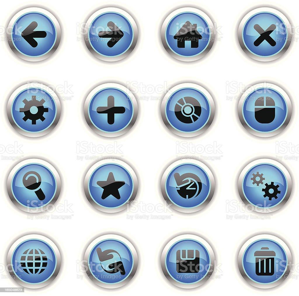 Blue Icons - Web vector art illustration