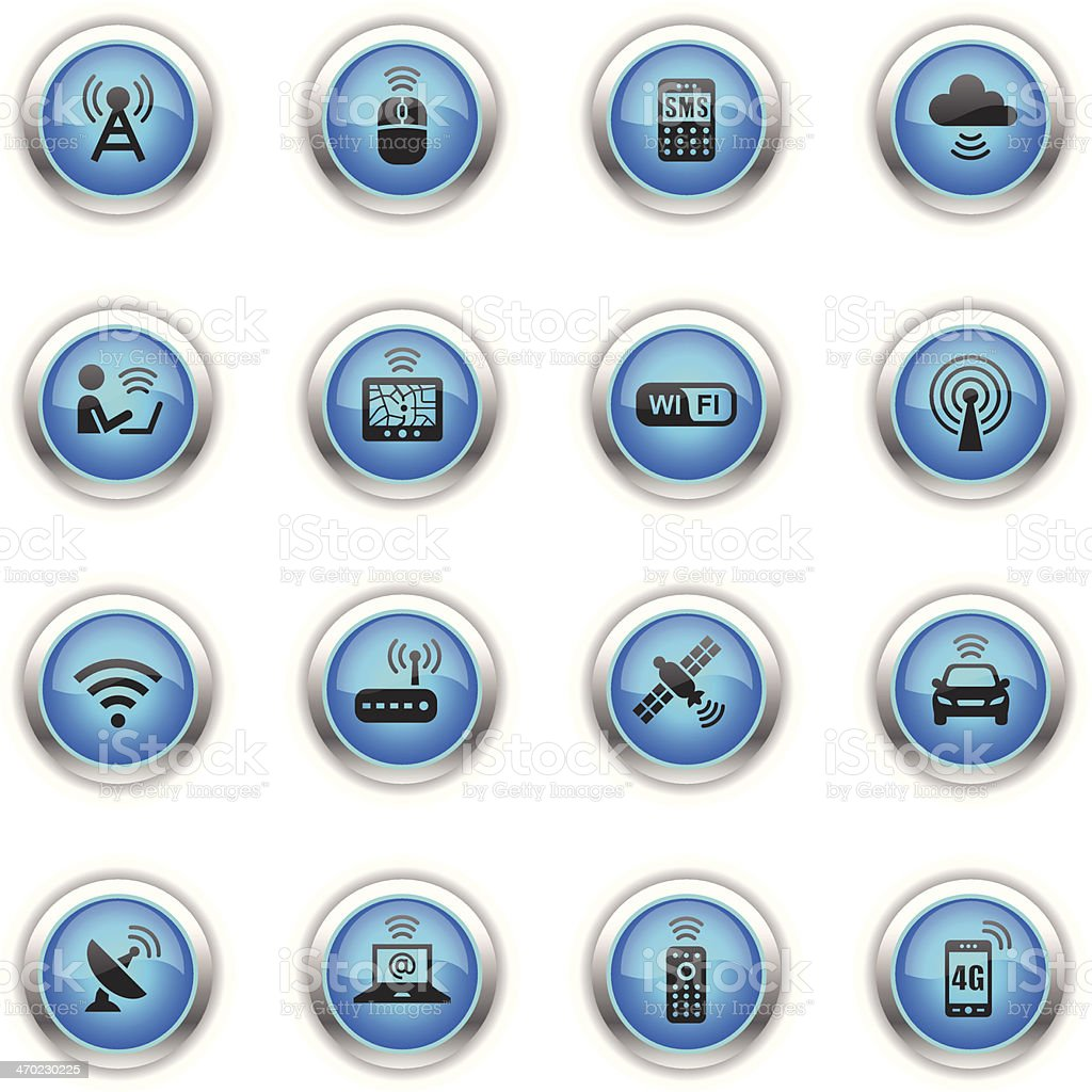 Blue Icons - Wireless Technology royalty-free stock vector art