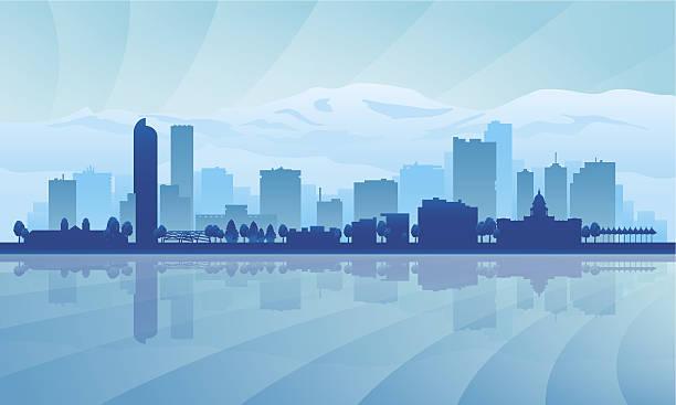 A blue illustration of Denver city skyline Denver city skyline silhouette background. Vector illustration denver stock illustrations