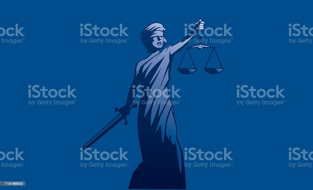 Blue illustration of Lady Justice holding a sword and scale royalty-free stock vector art