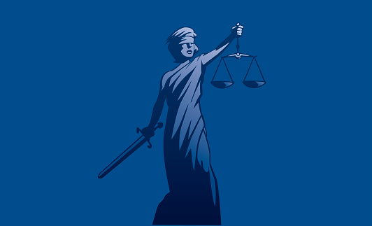 Blue illustration of Lady Justice holding a sword and scale