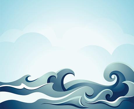 Blue illustration of sea waves