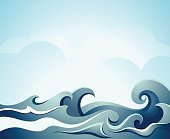 sea waves with cloud. See also