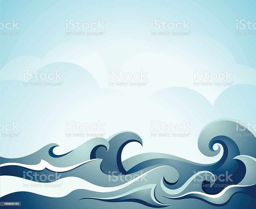 Blue illustration of sea waves vector art illustration