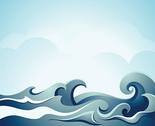 Blue illustration of sea waves sea waves with cloud. See also tide stock illustrations