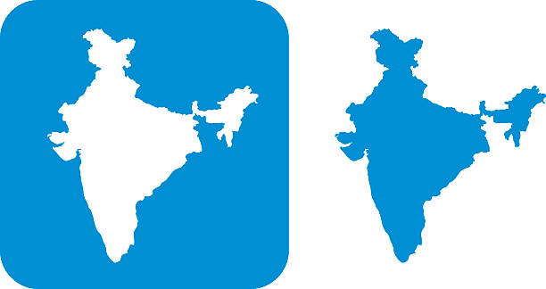Blue India Icon Vector illustration of two blue India icons. india stock illustrations