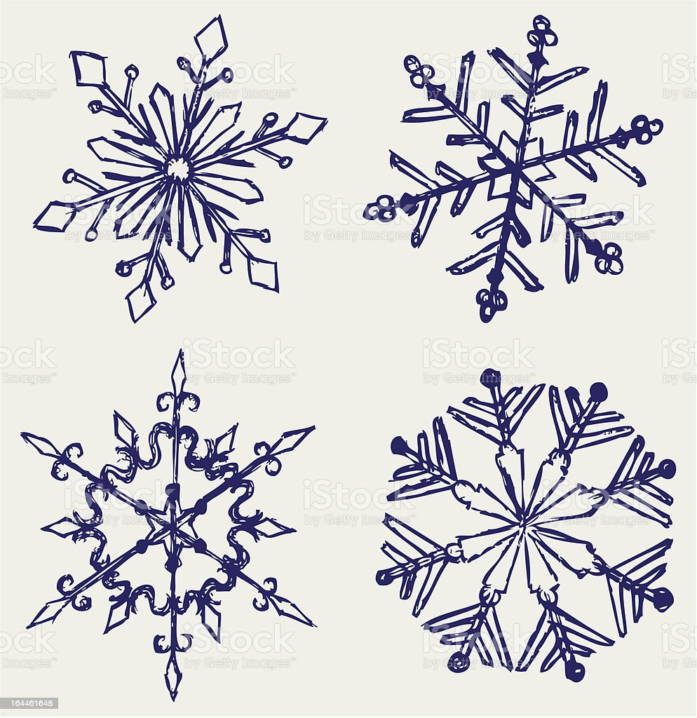 Drawing Red Lines With Blue Ink : Blue ink drawings of a snowflake winter stock vector art