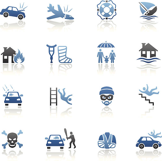 Blue Insurance Icon Set High Resolution JPG,CS6 AI and Illustrator EPS 10 included. Each element is named,grouped and layered separately. Very easy to edit.  vandalism stock illustrations
