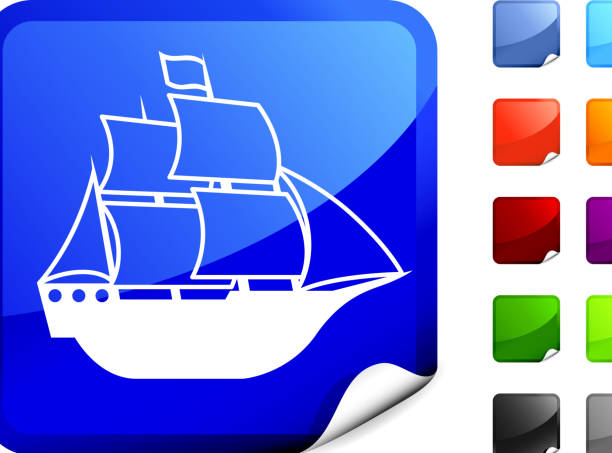 Blue Internet icon with white ship with bottom peeling up. vector art illustration
