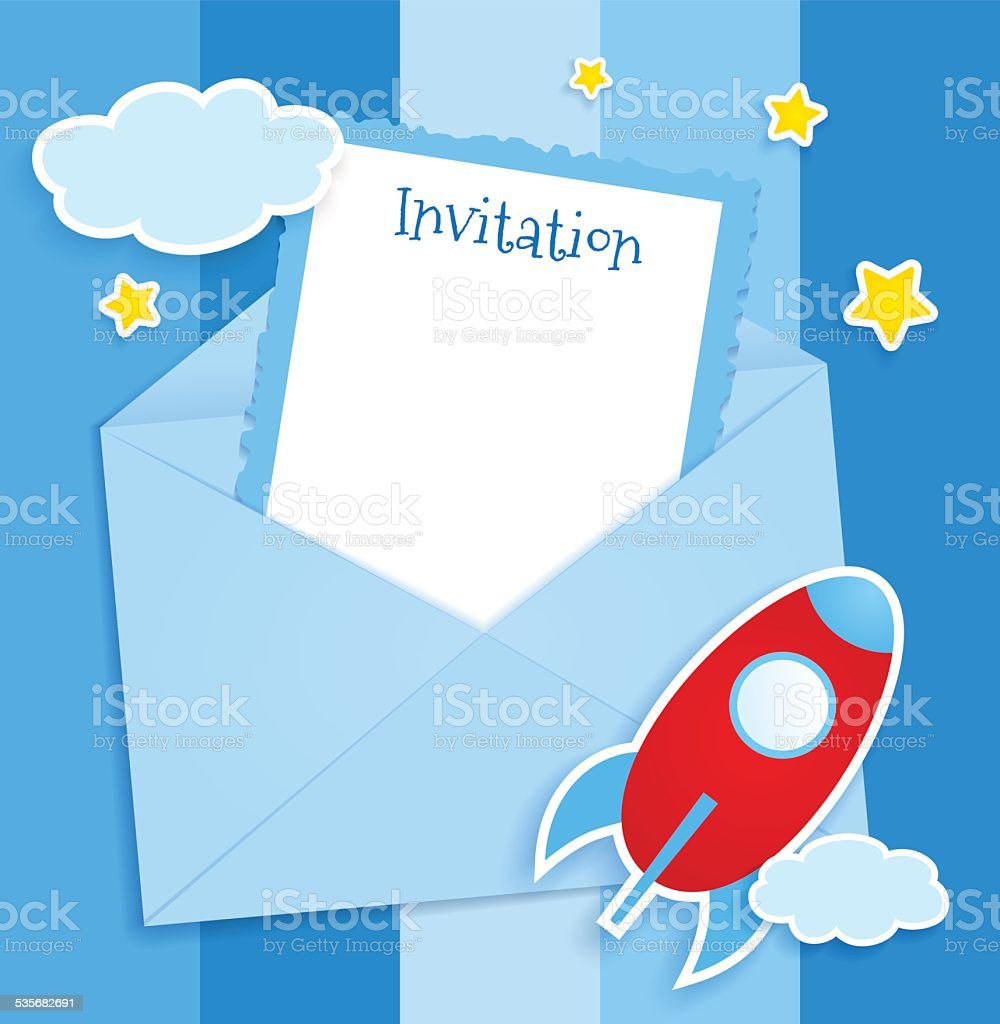 blue invitation card with clouds and airplane stickers stock vector