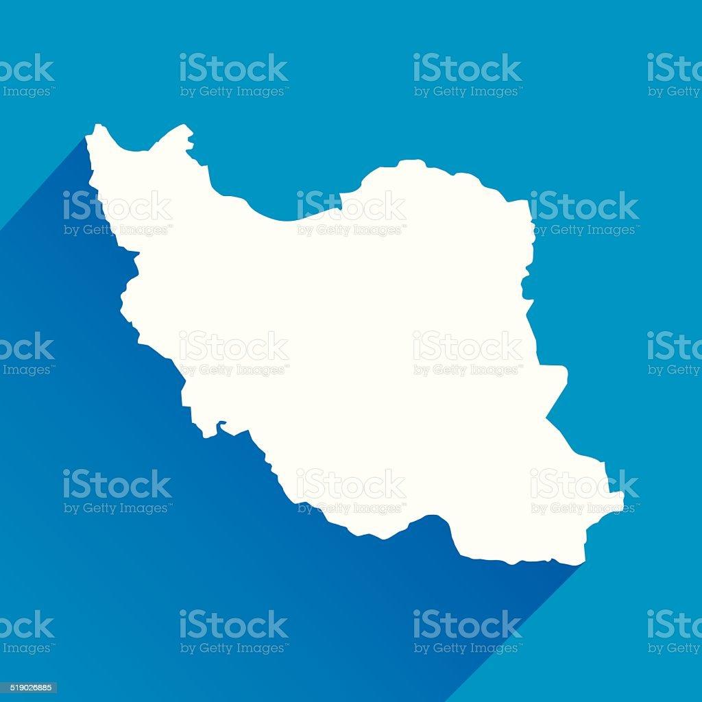 Blue Iran Map Icon vector art illustration
