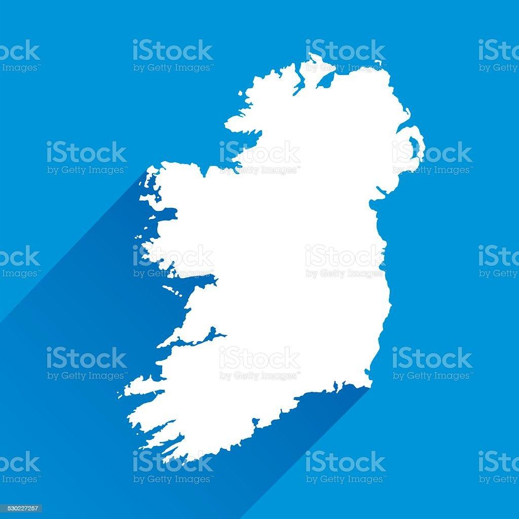Blue Ireland Map Icon vector art illustration