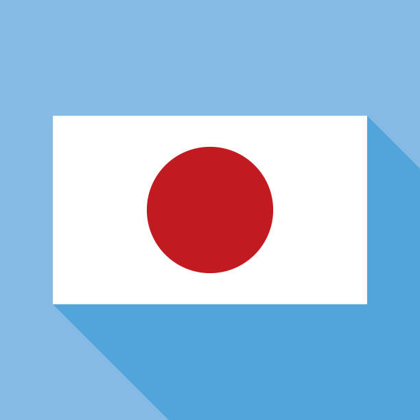Blue Japan Flag icon vector art illustration