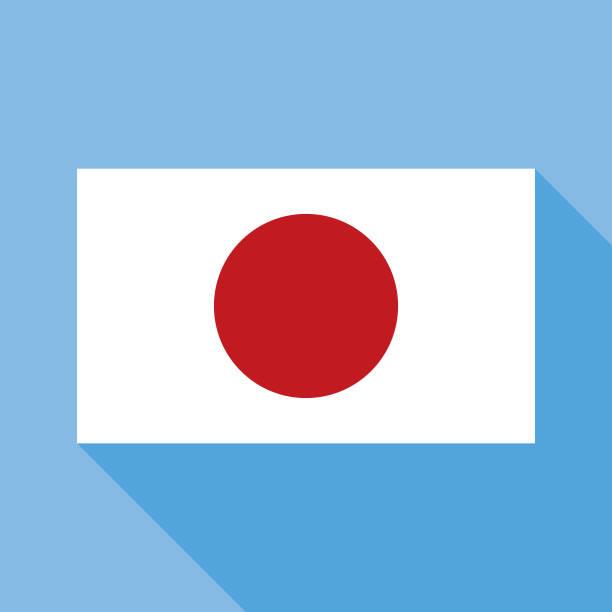 ilustraciones, imágenes clip art, dibujos animados e iconos de stock de icono azul de la bandera de japón - bandera japonesa