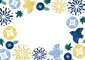 ブルー和柄フレーム水彩