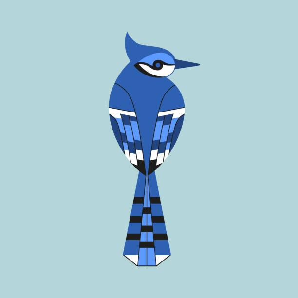 Blue Jay bird icon vector art illustration