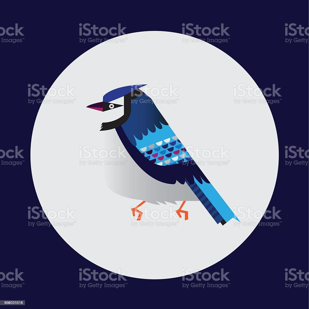 Blue jay Bird Vector vector art illustration