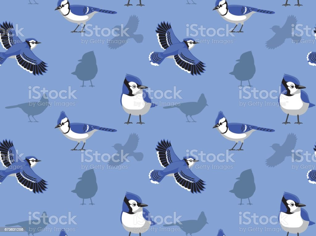 Blue Jay Cartoon Seamless Wallpaper Stock Illustration