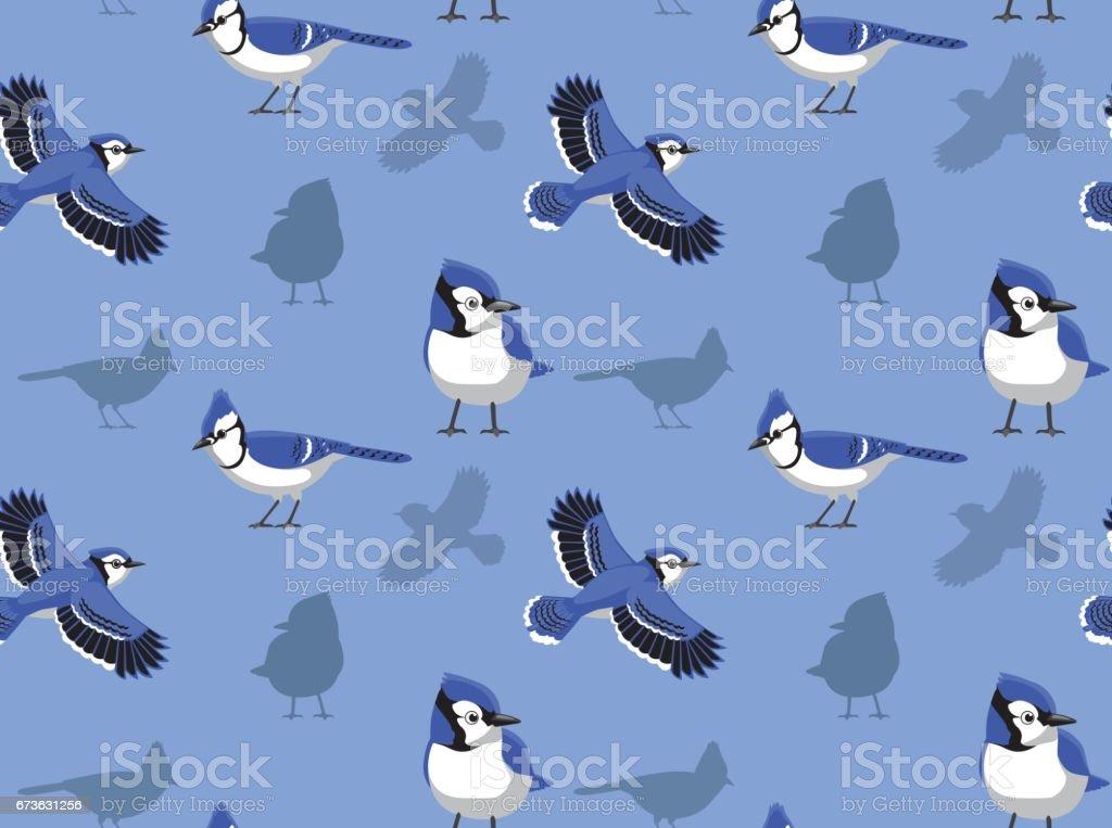 Blue Jay Cartoon Seamless Wallpaper vector art illustration