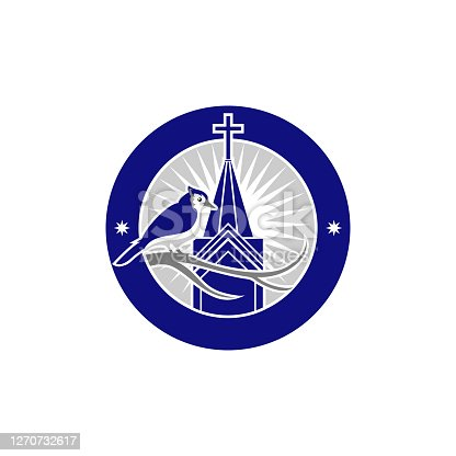 blue jay bird and church patch design illustration
