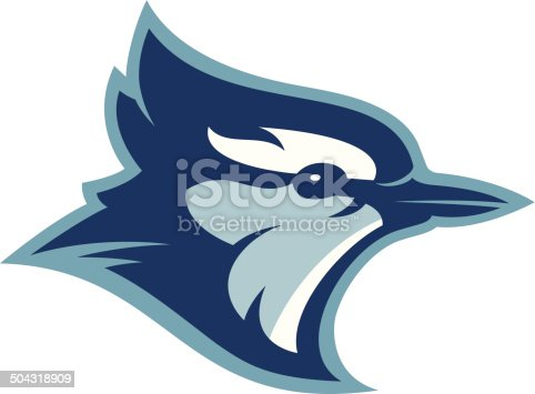 This blue jay head is perfect for your sports team mascot and logo. Customize with your own colors and text.