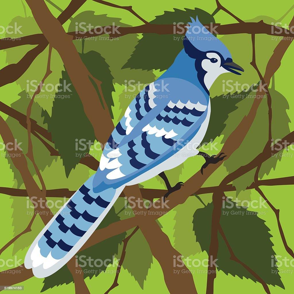 Blue Jay in a Tree vector art illustration