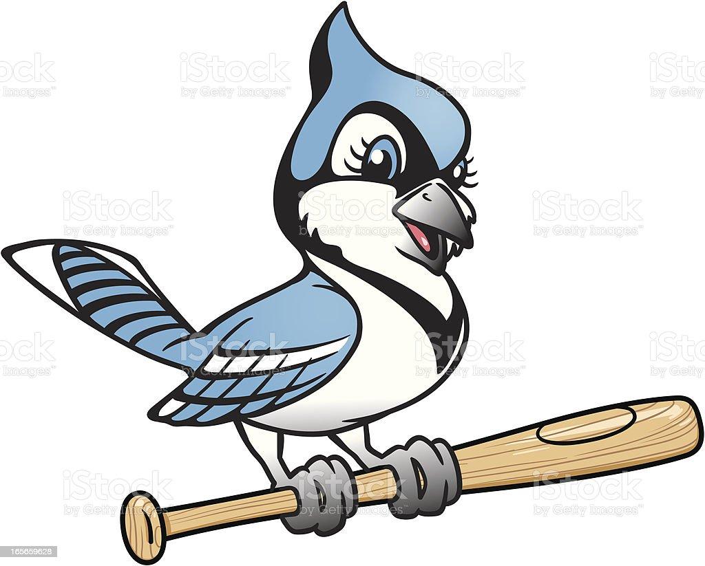 blue jay on bat vector art illustration