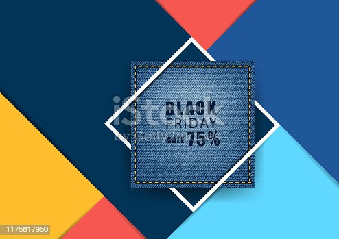 istock Blue jeans banner with square frame and colorful on modern geometric background. Vector illustration layout template design 1175817950