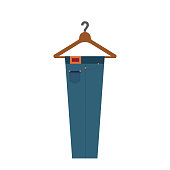 Blue jeans on a hanger from the grocery store and white background