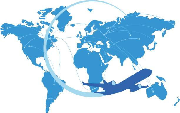 blue jet airplane silhouette with map of the world behind - airline stock illustrations, clip art, cartoons, & icons