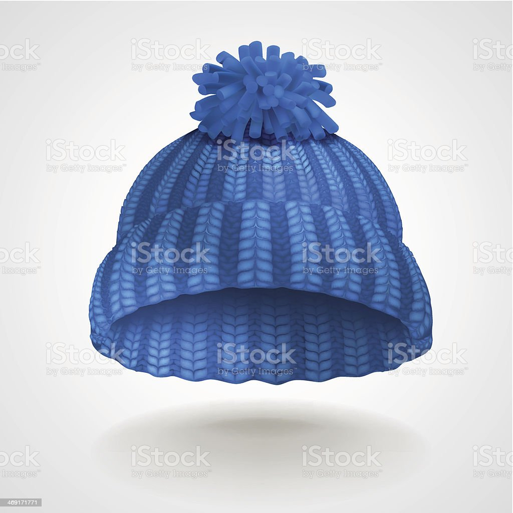 Blue knitted hat vector art illustration