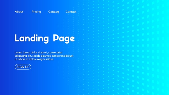 Blue landing page vector template. Abstract minimal background for business web site