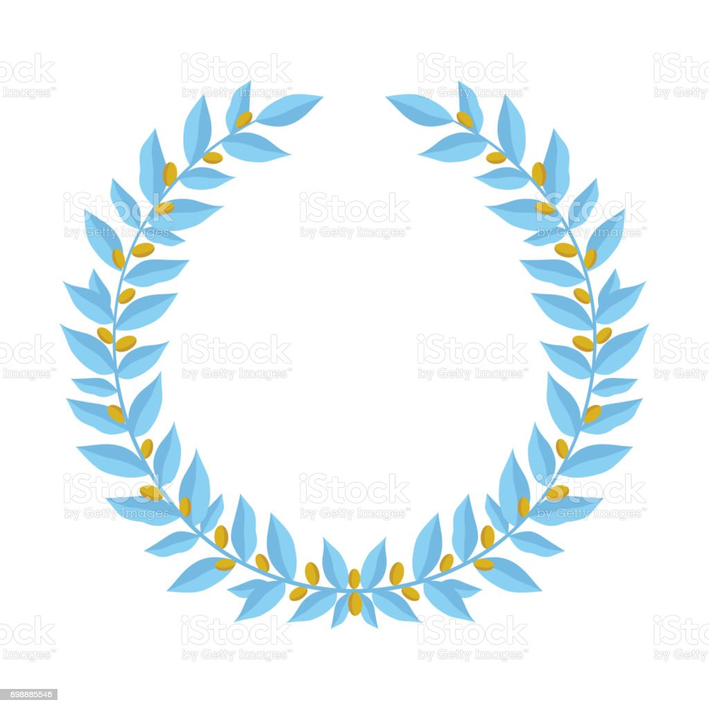 Blue Laurel Wreath With Golden Berries Vintage Wreaths Heraldic ...