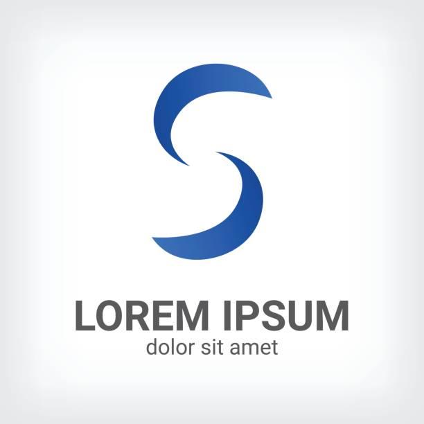 Blue Letter S Icon Curve Style Design Template Vector Art Illustration