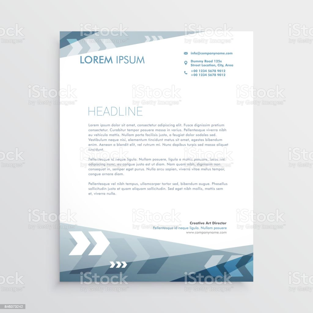 Blue Letterhead Design With Geometric Lines For Your Business