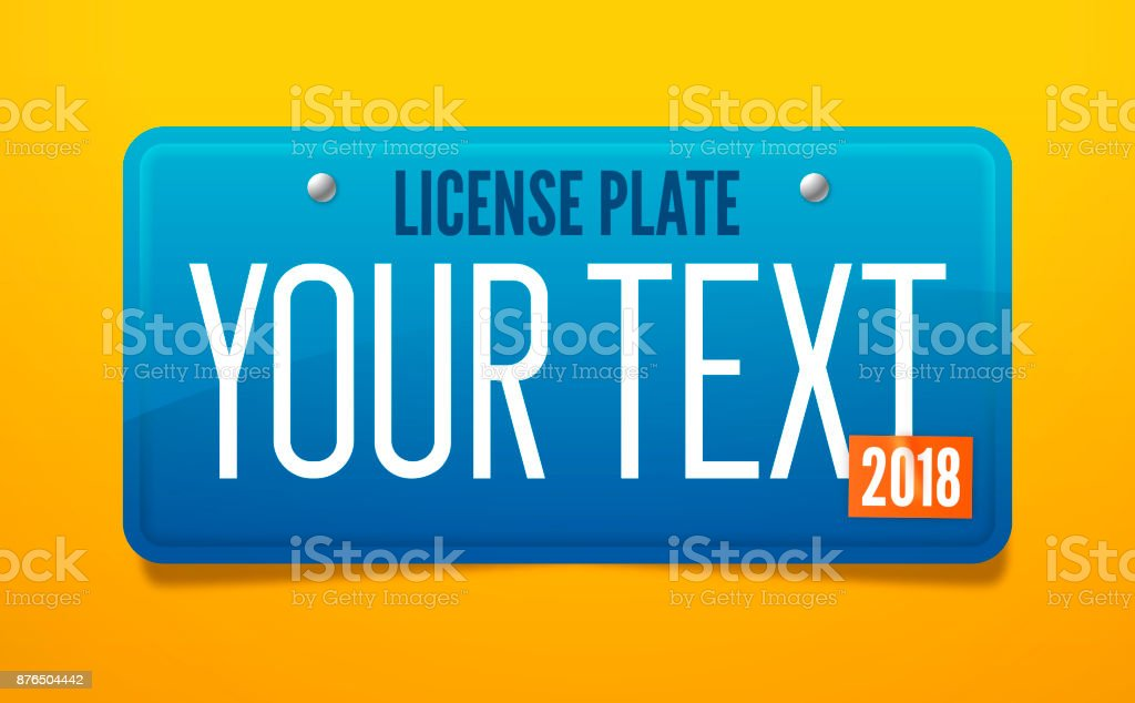 Blue License Plate vector art illustration