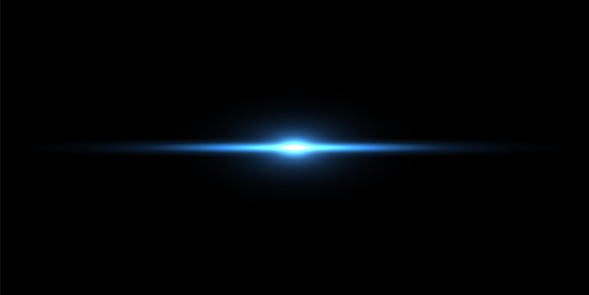 Blue light beam on black background