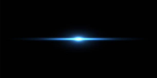niebieska wiązka światła na czarnym tle - błyszczący stock illustrations