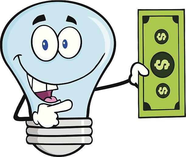 Blue Light Bulb Holding A Dollar Bil Similar Illustrations: bil stock illustrations