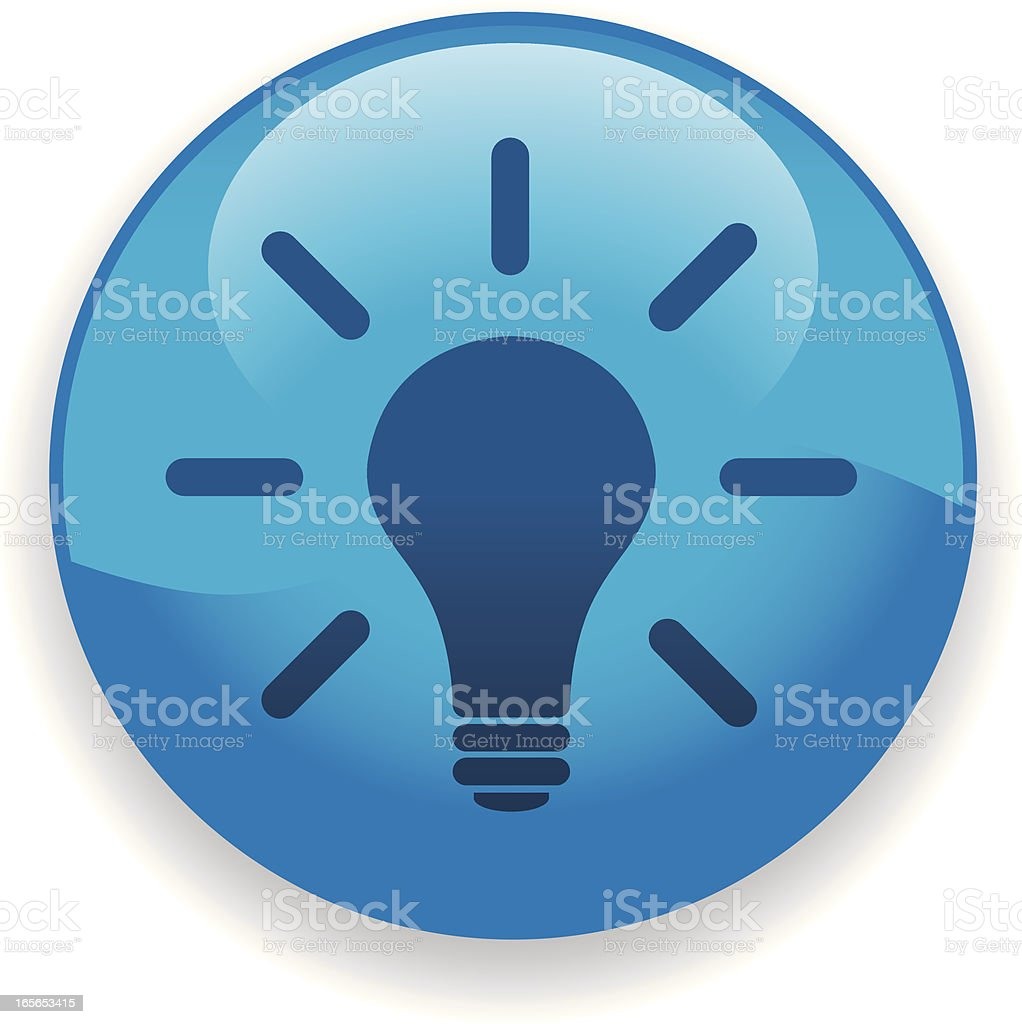 Blue light bulb icon or button royalty-free stock vector art