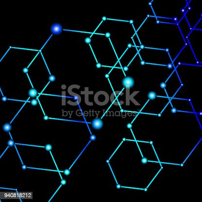 istock Blue light connected dots abstract background 940818212