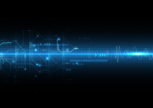 Blue Light Sound Wave And Circuit Stock Illustration